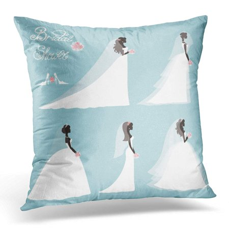 ECCOT Wedding Bride in Different Dress Bridal Shower Cartoon Girl Woman Silhouette Portrait Swirling Borders Pillowcase Pillow Cover Cushion Case 18x18 inch