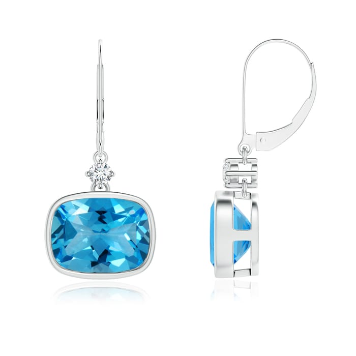 Angara Cushion Swiss Blue Topaz Drop Earrings with Diamond Accents H2IeFZ