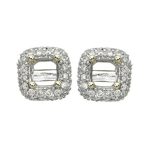 14K Yellow Gold 0.32ct Donut Style Pave Set Round White Diamond Stud Earrings