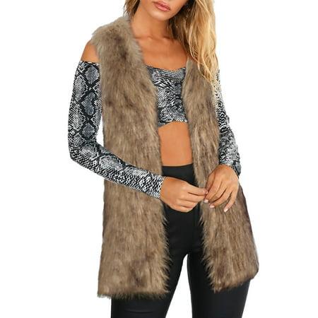 (Toponeto) Women Warm Thickening Coat Jacket Faux Fur Fox Mink Parka Outwear Cardigan Vest Sheared Mink Jacket
