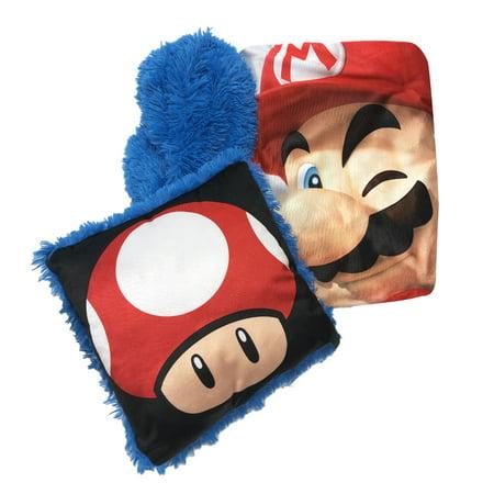 Super Mario Kids 2Pc Decor Pillow and Throw Set, Fun Faux Fur (X Games Comforter)