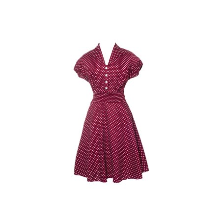 1950s Dresses (Retro 1950s Vintage Polka Dot Housewife Collar Swing Dress, Burgundy (2XL))