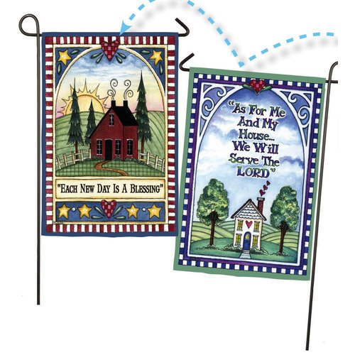 Evergreen Flag & Garden Each Day is a Blessing / We Will Serve the Lord 2-Sided Suede 1.5' x 1.04' Garden Flag