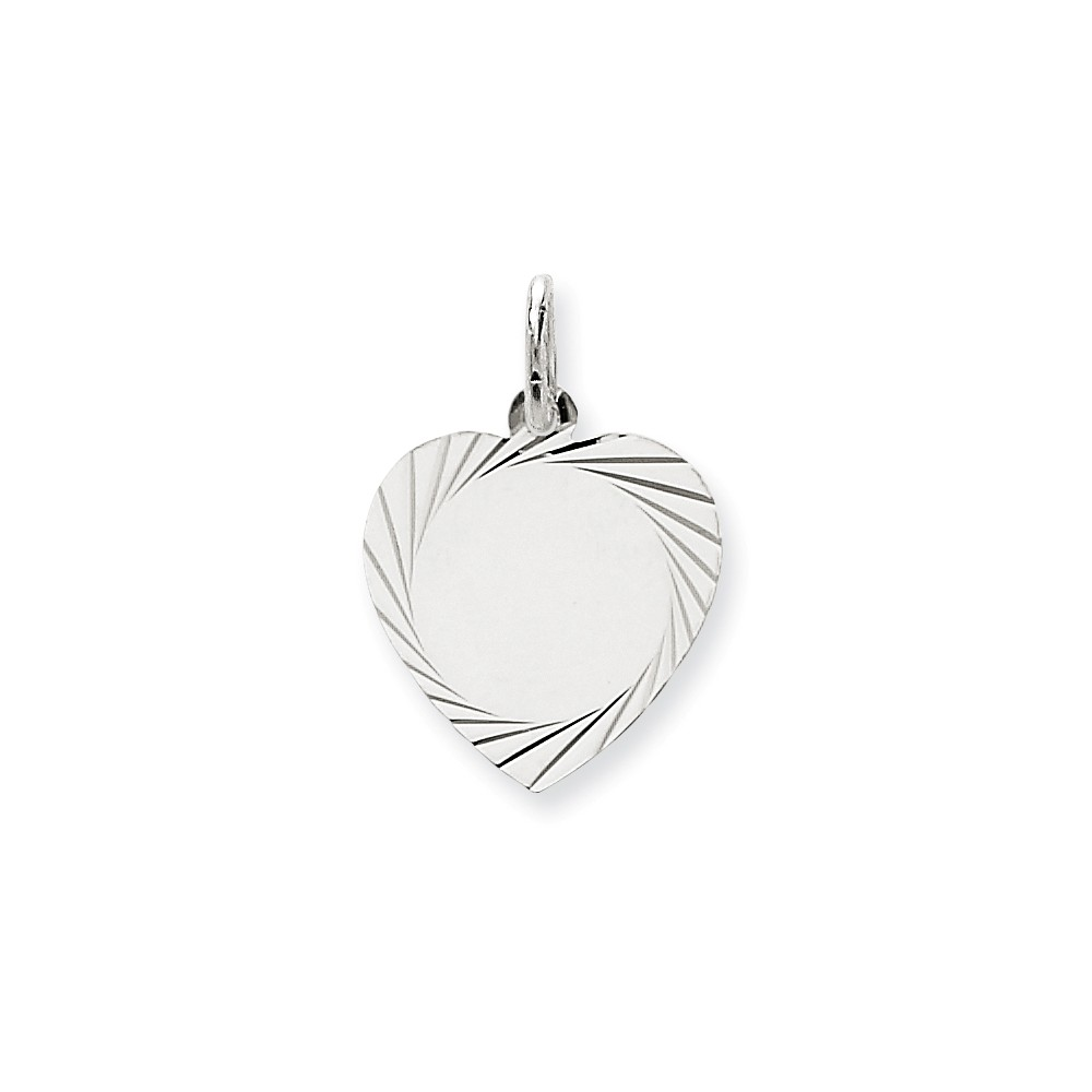 14k White Gold Etched Design 0.013 Gauge Engravable Heart Charm (0.9in long x 0.6in wide)