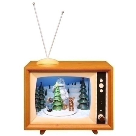 7 musical animated rudolph winter scene tv box christmas decoration - Christmas Tv Decoration