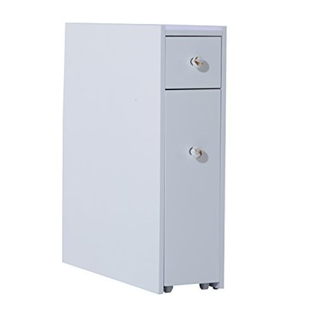 homcom slide out bathroom floor cabinet white