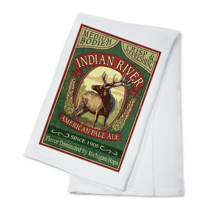Indian Pale Ale - Indian River, Michigan - Elk Pale Ale Vintage Sign - Lantern Press Artwork (100% Cotton Kitchen Towel)