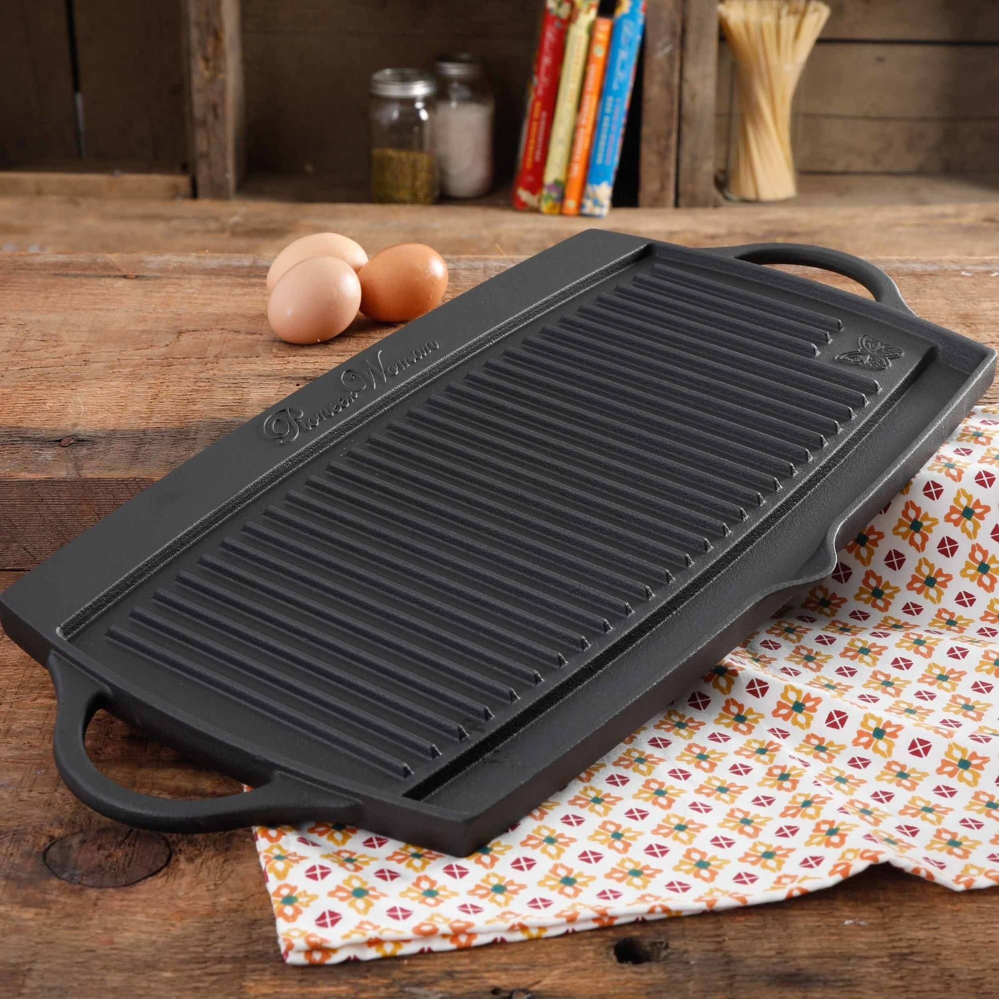 """The Pioneer Woman Timeless Pre-Seasoned Plus 20"""" Cast Iron Double Gridle"""