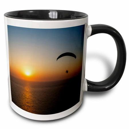 3dRose Paramotor flying at sunset, Aegean Sea, western Turkey - Two Tone Black Mug, 11-ounce