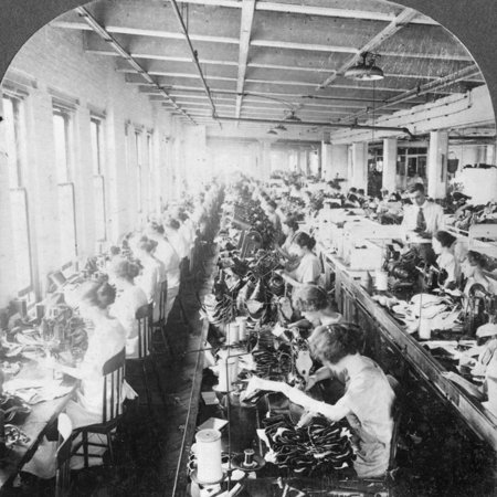 Sewing Room in a Large Shoe Factory, Syracuse, New York, USA, Early 20th Century Print Wall Art - Early 20th Century Halloween