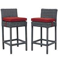 Modern Contemporary Urban Design Outdoor Patio Balcony Garden Furniture Bar Pub Stool Chair Set, Set of Two, Sunbrella Rattan Wicker, Red