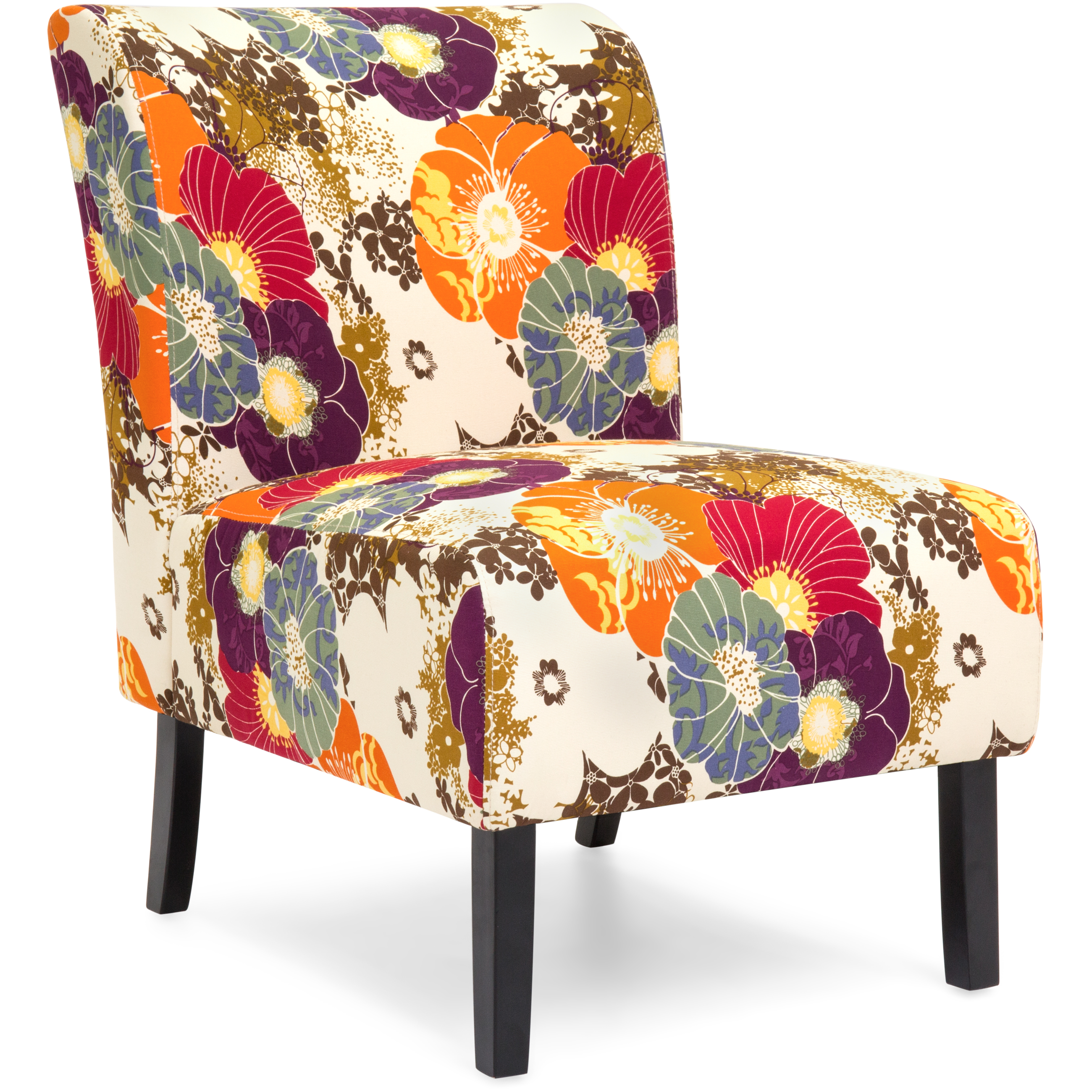 Best Choice Products Modern Contemporary Upholstered Armless Accent Chair Floral Multicolor by