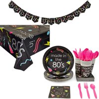 Serves 24 80s 1980s Birthday Party Supplies, 146PCS Plates Napkins Cups Utensils Banner Table Cover, Favors Decorations Disposable Paper Tableware Kit Set for Boys Girls Kids Adults Men Women Teens