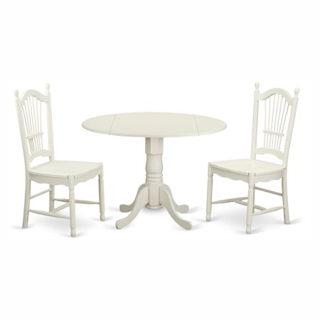 East West Furniture Dublin 3 Piece Drop Leaf Dining Table Set With Dover Wooden Seat Chairs
