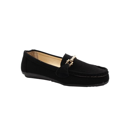 Women Black Jeweled Faux Suede Trendy Loafer Shoes