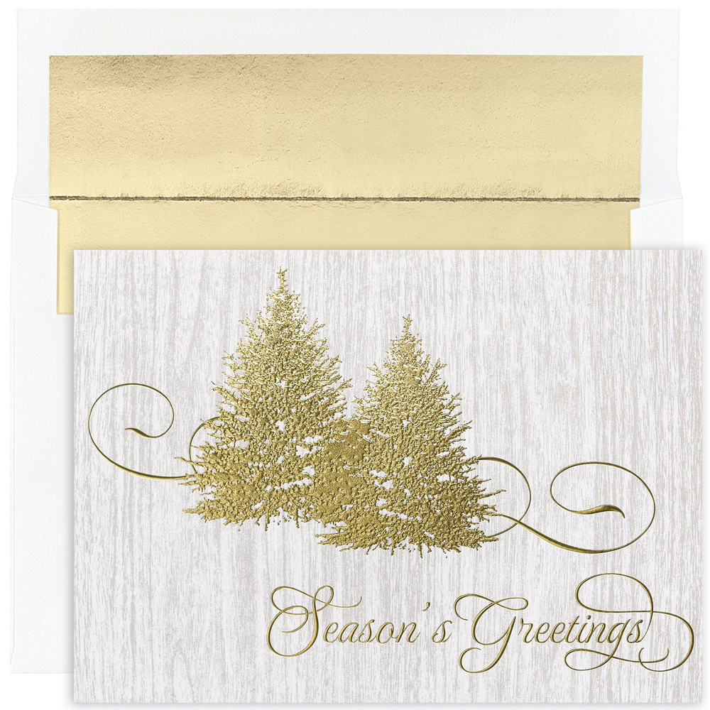 JAM Paper Christmas Card Set, Golden Trees Holiday Cards, 16 Cards & Envelopes/Pack