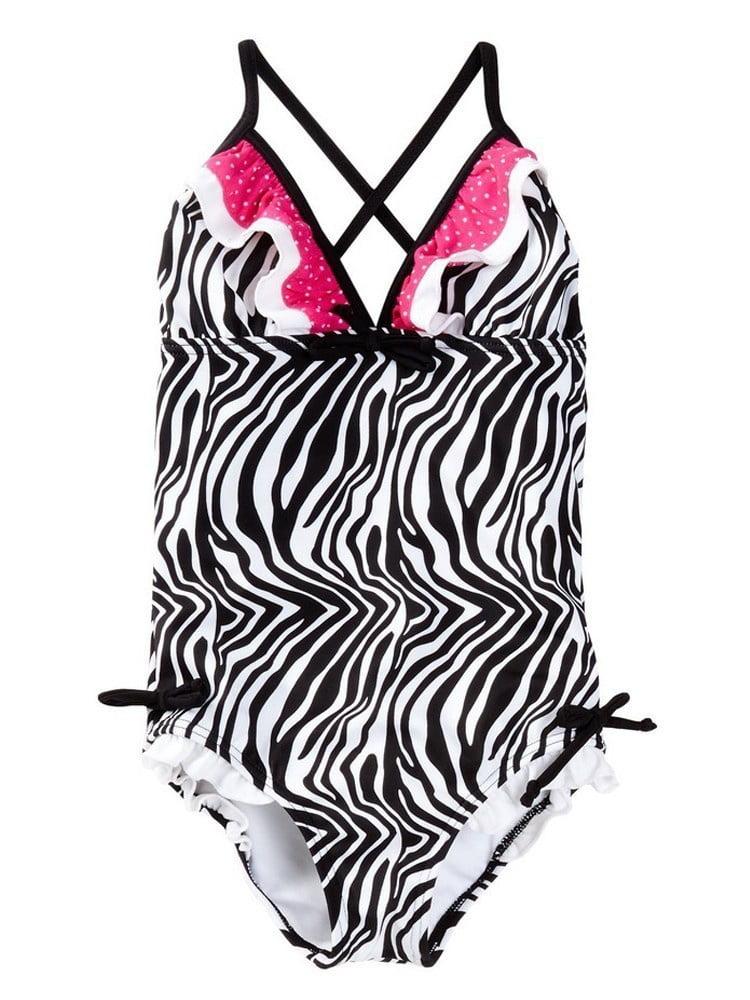 Azul Little Girls Black Pink Zebra Triangle Neon Safari One Piece Swimsuit