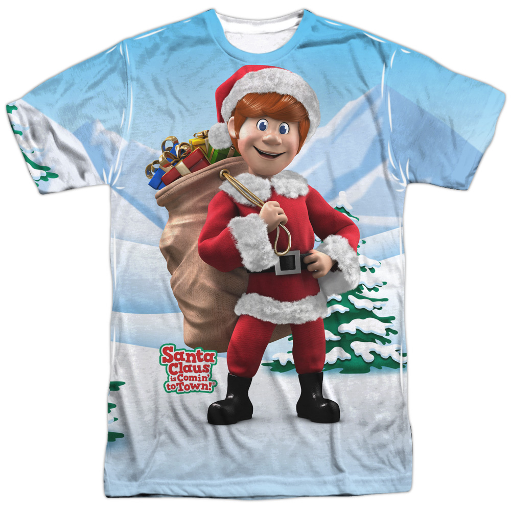 Santa Claus Is Comin To Town Helpers (Front Back Print) Mens Sublimation Shirt