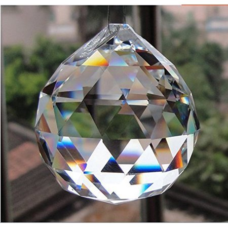 Yoker 40mm Clear Crystal Ball Prisms Pendant Feng Shui Suncatcher Decorating Hanging Faceted Prism Balls