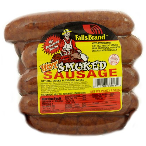 Falls Brand Hot Smoked Sausage, 24 oz
