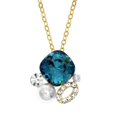 X & O Gold Plated Cluster Necklace with faux pearl, white crystals, and Indicolite Swarovski Stone (Plated Faux Pearl)