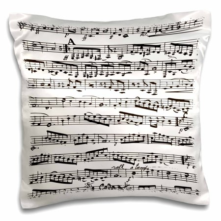 3dRose Musical notes - vintage sheet music - black and white piano notation - pianist and musician gifts - Pillow Case, 16 by - Black And White Musical