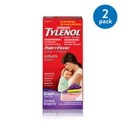 (2 Pack) Infants' Tylenol Oral Suspension, Fever Reducer and Pain Reliever, Grape, 2 fl oz