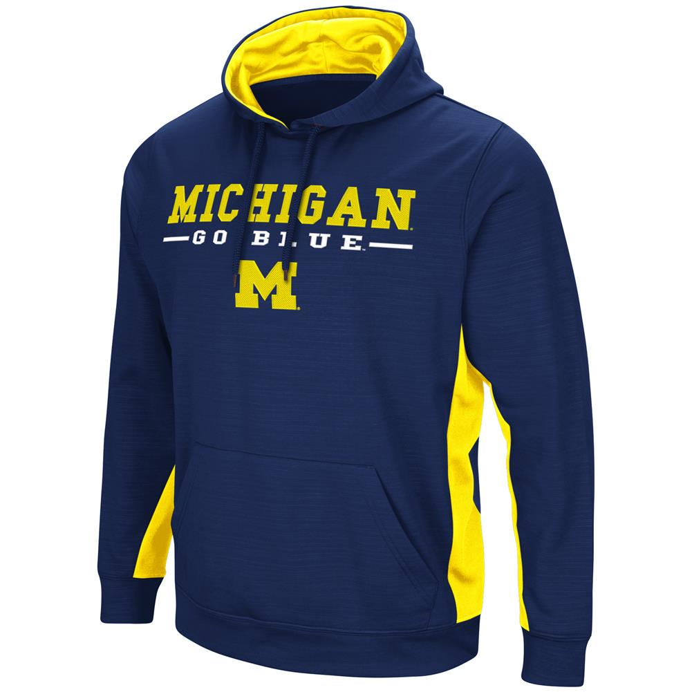 University of Michigan Wolverines Hoodie Performance Fleece Pullover Jacket by Colosseum