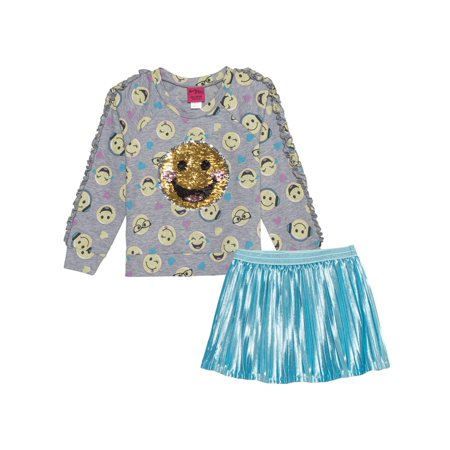 EMOJI Reversible Flip Sequin Sweatshirt and Pleated Skirt, 2-Piece Outfit Set (Little Girls & Big Girls) (Little Girls Cowgirl Outfit)