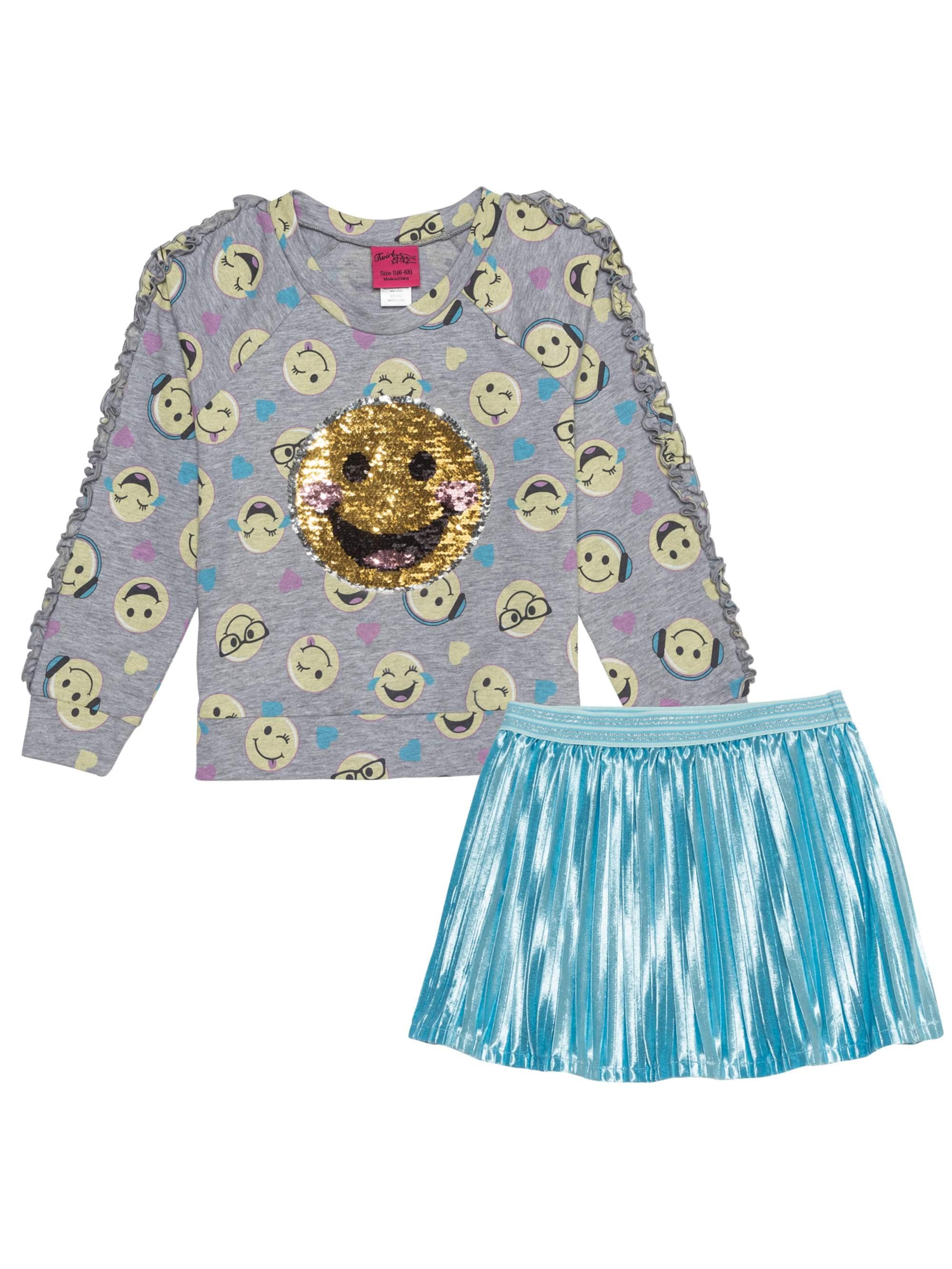 EMOJI Reversible Flip Sequin Sweatshirt and Pleated Skirt, 2-Piece Outfit Set (Little Girls & Big Girls)