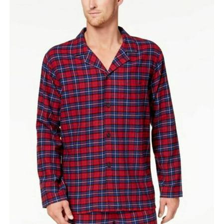 Club Room Men's Plaid Flannel Nightshirt Lounge Sleepwear Pajama Top, Red Large