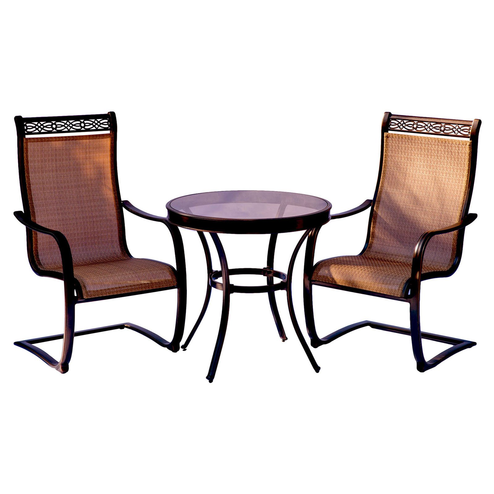 Hanover Outdoor Monaco 3-Piece Glass-Top Bistro Set with Sling C-Spring Chairs, Cedar