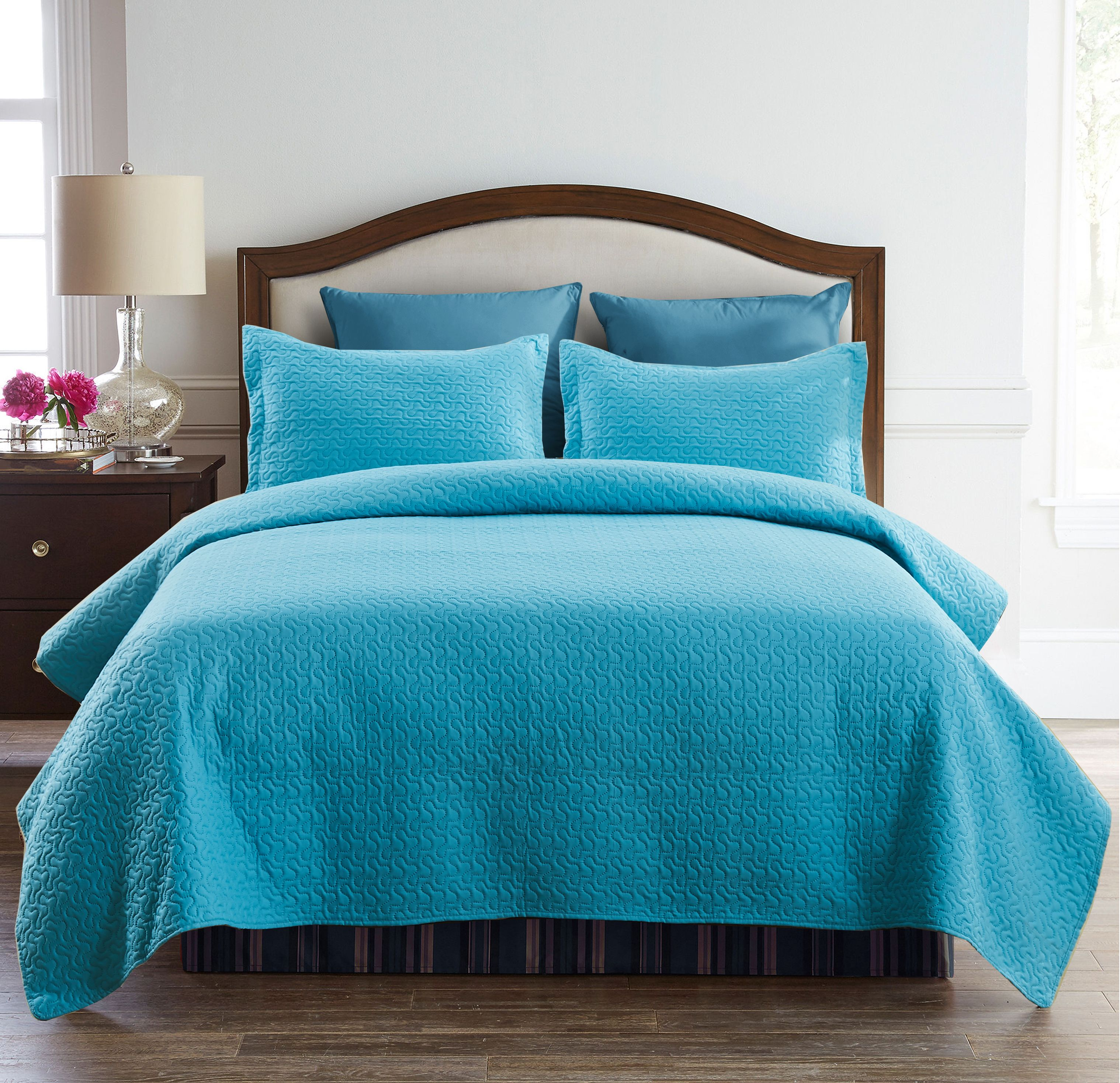 Beige Blue Charcoal Diadmond Bedspreads Coverlet with Ruffle 3 PC Soft Quilt Set