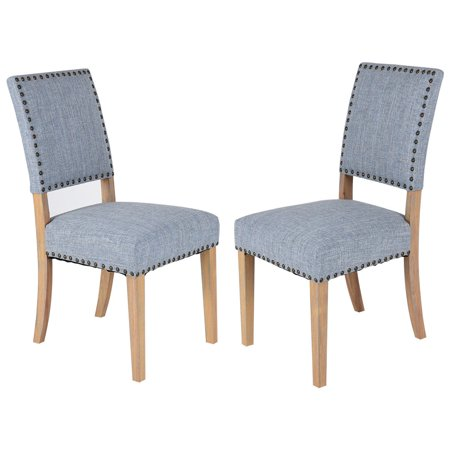 Costway Set of 2 Fabric Dining Chairs w/ Rubber Wood Legs Home Kitchen Furniture Blue