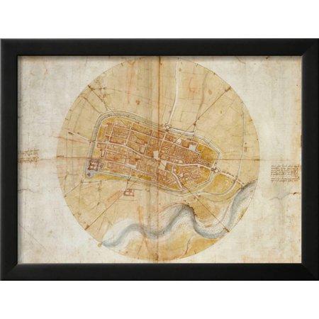 Plan of Imola by Leonardo Da Vinci Framed Print Wall Art - Walmart.com