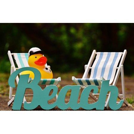 Framed Art For Your Wall Rubber Duck Beach Summer Sun Sun Loungers Font 10x13 Frame - Rubber Duck Clip Art