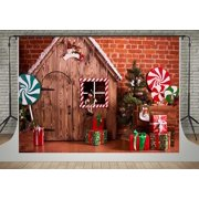 GreenDecor Polyster 5x7ft Christmas Backgrounds Photo Red Brick Wall Backdrops for Photography Fairytale Wood House Backdrops for Children Props