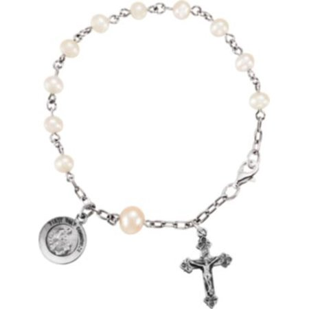 (Freshwater Cultured Pearl Rosary Bracelet in Sterling Silver)