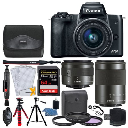 Canon EOS M50 Mirrorless Digital Camera + EF-M 15-45mm & 55-200mm