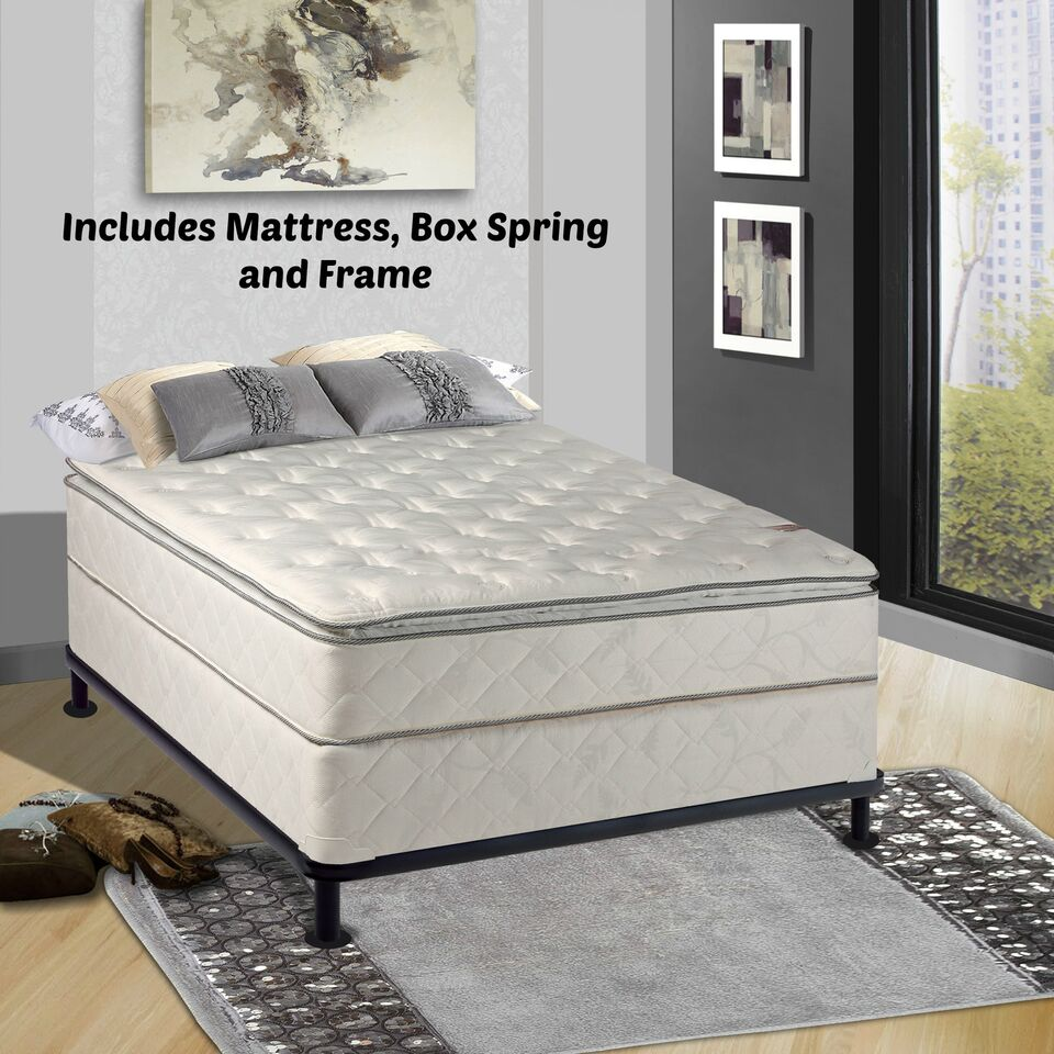 Continental Matress Mattress, 10-Inch Fully Assembled Pillow Top Orthopedic Mattress and Box Spring with Frame , Queen