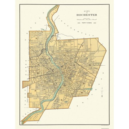 Old City Map - Rochester New York - Bien 1895 - 23 x 30
