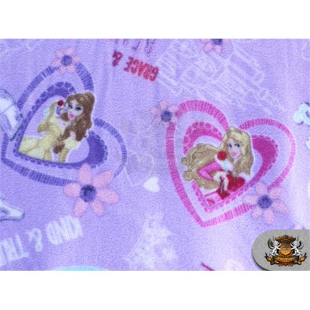 Fleece Printed Antipill Winter Fabric Princess Hearts Lavender / 58