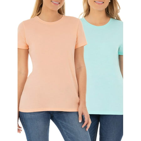 Logo Womans Vintage Crewneck (Women's Essential Short Sleeve Crewneck T-Shirt, 2 Pk Bundle )