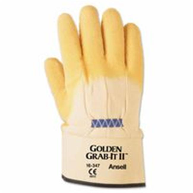 Ansell 012-16-347-10 Golden Grab-It Gloves, 10, Yellow