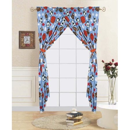 "4-PC GAME DAY Kids Bedroom Window Panel Pair, Set of Two Rod Pocket Curtains 38""in Wide x 84""in Length (Each) with Matching Tie Backs"