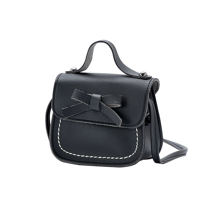 Mini, White Girls Kids Cute Bowknot Shoulder Bag PU Leather Cross Body Bags Mini Messenger Bags