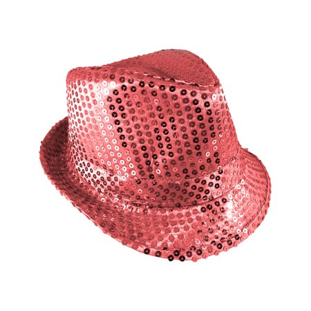 Adults Pink Light Up Sequin Gangster Fedora Hat Costume Accessory - Pink Gangster