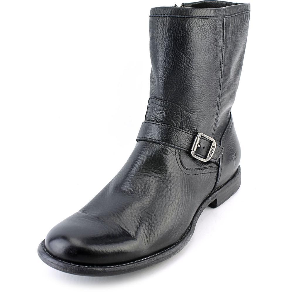 Frye Phillip Inside Zip Men  Round Toe Leather Black Mid ...