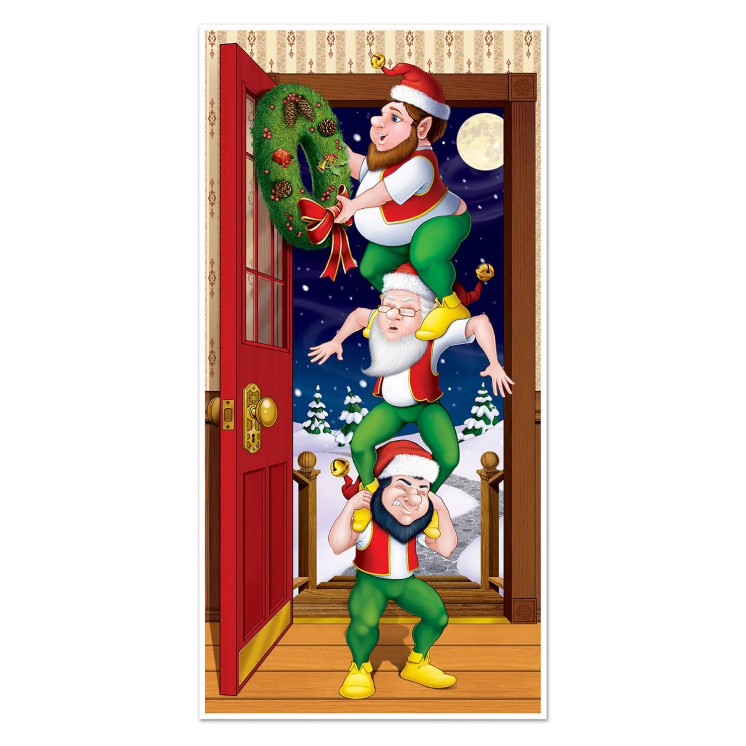 Club Pack of 12 Winter Wonderland Themed Christmas Elves Door Cover Party Decorations 5'