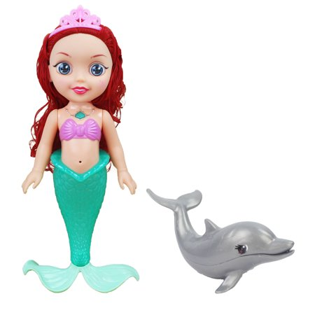 Battery Operated Toy Singing and Light Up Mermaid Doll with Cute Pet Dolphin (Little Mermaid Toys)